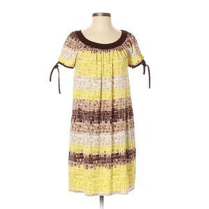 BCBGMAXAZRIA Yellow & Brown Tie-Dye Shift Dress